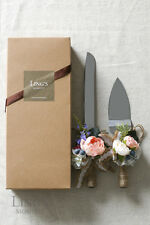 Flowers Handle Stainless Cake Knife and Server Set Vintage Wedding