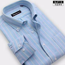 8 Colors Mens Long Sleeve Oxford Non-iron Striped Business Casual Dress Shirt