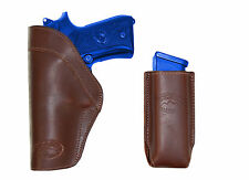 New Barsony Brown Leather IWB Holster + Mag Pouch Smith&Wesson Full Size 9mm 40