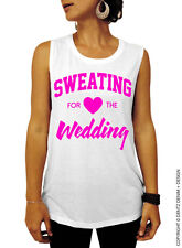 Sweating for the Wedding - White with Pink Ink Muscle Tee Tank Top