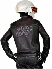 Daft Punk Get Lucky Electroma Biker Genuine Leather Black Motorcycle Jacket