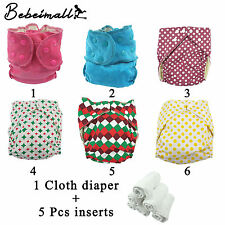 1 Diaper + 5 Inserts Adjustable Reusable Lot Baby Washable Cloth Diaper Nappies