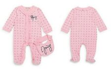 Juicy Couture Baby Girl's  Heart-Print Ruffle Cotton Footie & Matching Bib Set