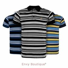 NEW MENS CONTRAST STRIPE CASUAL TOP SUMMER COLLAR TRIM NECK POLO T SHIRT S-XXL
