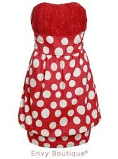 Ladies Womens Bubble Dress Retro Vintage Lace Polka Dot Summer Boob Tube