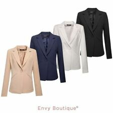 NEW WOMENS LADIES ONE BUTTON UP FRONT PONTE SMART OFFICE BLAZER JACKET COAT