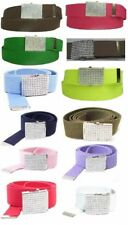 Canvas Military Army Belt with Rhinestone Buckle Web Bling Colors Wide