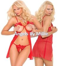 Red Lingerie Set Women Sexy Open Bust Cupless Babydoll Nightie Sheer Bow Panty