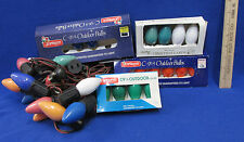 Vintage Christmas Lights Multi Colored Strand and 16 Replacement Bulbs C9 1/4