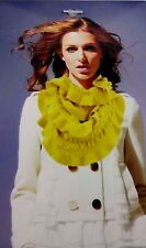 Ruffled infinity scarf solid colors stretchy knit loop