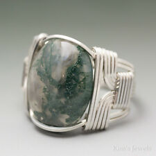 Moss Agate Sterling Silver Wire Wrapped Cabochon Ring