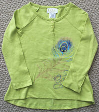Guess Jeans Top Tee Shirt  L/S 3 3T Girl's Glitter Peacock Feather FREE Ship NWT