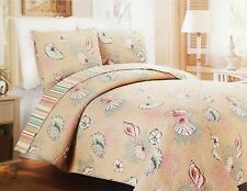 3 Piece Coastal Beach Tropical Ocean Beach Seashell Conch Quilt Bedspread Set
