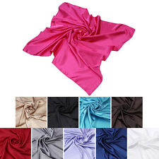 """Elegant Large Silk Feel Solid Color Satin Square Scarf Wrap 36"""" - Diff Colors"""