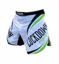 Lockdown White Green MMA Shorts Fightshorts Muay Thai UFC Grappling Sizes S-XXL