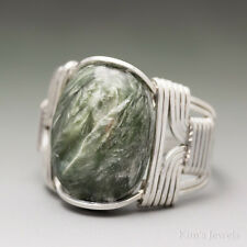 Seraphinite Clinochlore Sterling Silver Wire Wrapped Cabochon Ring