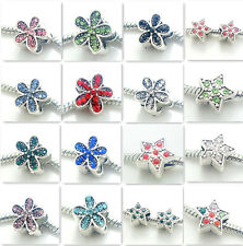 3PCS flowe Silver Rhinestone Spacer  European Charm  BeadS Fit Necklace Bracelet