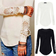Sexy Cotton Crew Neck T-Shirt Casual Women Long Sleeved Lace Crochet Top Tee