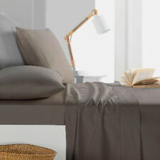 600TC Egyptian Cotton 1pc  FLAT SHEET Sateen Solid Dark Taupe