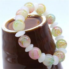 12mm Women Simulated Agate Glass Beads Bracelet Elastic Bangle Jewelry