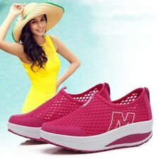 Fashion Women Mesh Trifle Wedge Shallow Sneaker Slip on Breathable Shoes