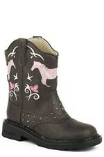 Roper Lighted Horse Flowers Brown and Pink Cowgirl Western Boot