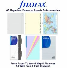 Filofax A5 Organiser Essentials Accessories Insert Refill Replacement Pack Paper