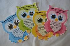 UNIQUE PERSONALIZED OWL BABY SHOWER, BIRTHDAY PARTY CUSTOM INVITATIONS U CHOOSE