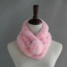 Classic Winter Lady Women Real Genuine Rex Rabbit Fur Wrap Muffler Scarf Warmer