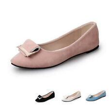 Classic Womens Flats Ballet Shoes Solid Leather Slip On Flat Heel Loafers