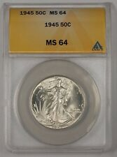 1945 Walking Liberty Silver Half Dollar Coin ANACS MS-64 (2)
