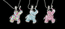 New Elephant Austrian Crystal Pendant Charm Silver Tone Necklace