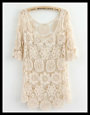 FREE GIFT + VTG BOHO FESTIVAL FLORAL CROCHET EMBROIDERY TUNIC WEDDING DRESS TOP