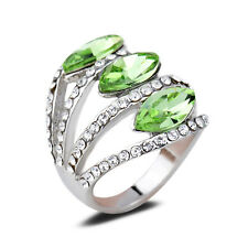 18K White Gold Plated Green Crystal Wedding Elegant Ring CZ Rhinestone New
