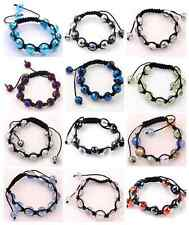 12mm Faceted Crystal Glass Disco Ball Beaded Hip Hop Bracelet Bangle 1 Strand