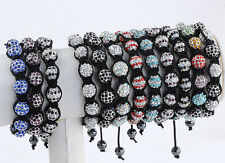 Crystal Rhinestone Bling Ball Hematite Hip Hop Disco Bracelet Bangle Macrame