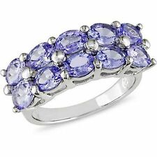 Natural Tanzanite oval cut two row Ring cluster ring o0 .925 Sterling Silver