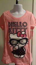NWT Hello Kitty Girl's Light Pink Sparkly Sunglasses Tee - Sizes 7-12