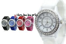 Fashion Women Geneva Silicone Crystal Quartz Ladies Jelly Dial Wrist Gift Watch