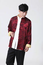 Red blue/yellow Double face Chinese style men's jacket coat sz:M-L-XL-XXL-XXXL
