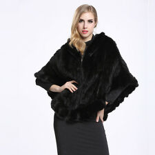 Luxury 100% Real Knitted Mink Fur Poncho Cape Winter Women's Coat With Hat P0002