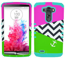 For LG Optimus G3 Hybrid Hard Cover Case Green Pink Chevron Anchor Mint Blue