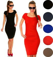 Stretch Ruched Short Sleeve Knee Length Jersey Dress UK 10-16 24h Dispatch 023