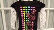 NWT Sparkly Disney Minnie Mouse Long Sleeve Layered Shirt- Sizes 4 - 6X
