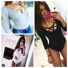 New Sexy Women Plunge Leotard Top Deep V Lace-up Tie Ribbed Jumpsuits Bodysuit