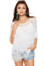 Womens Crochet Strappy Insert Top Ladies Lace Knit Baggy Short Sleeve Round Neck