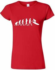 Evolution of Surfing Ladies Fitted T-Shirt Surf Tshirt Surfer T Shirt Surfboard