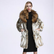 Women 100% Real Rabbit Fur Jacket Fashion Big Raccoon Fur Collar Coat Hook C0129