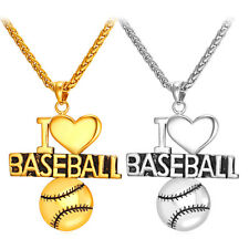 I Love Baseball Stainless Steel Letter Pendant Necklace 18K Gold Plated Jewelry