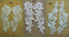 2 Pieces Victorian Flower Venice Lace Applique White zha7